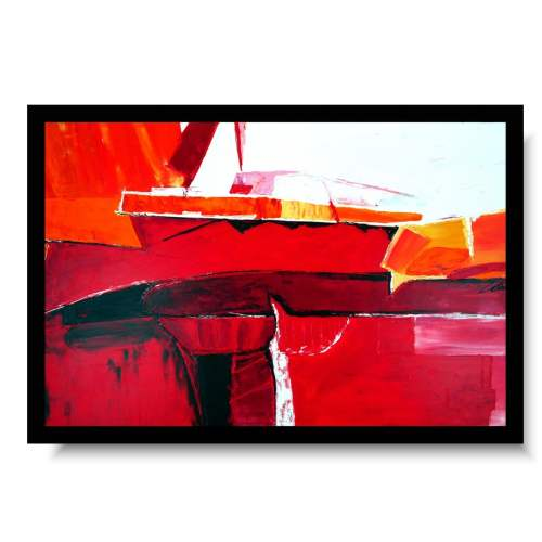 Elegancki duży obraz gorąca czerwień 4
