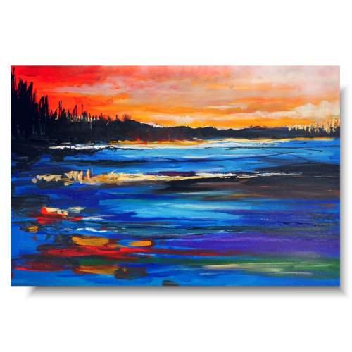 Kolorowy obraz marynistyczny wybrzeże w ogniu