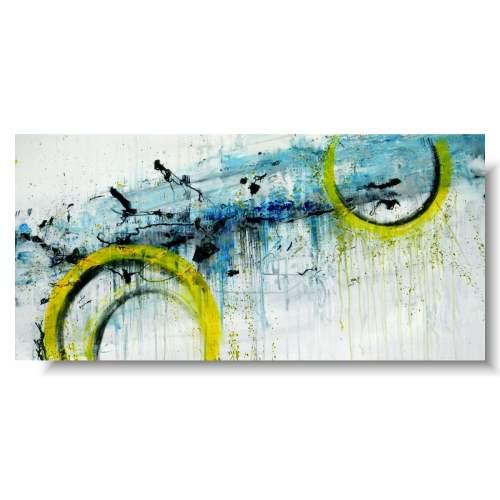 Duży obraz abstrakcyjny żółte koła