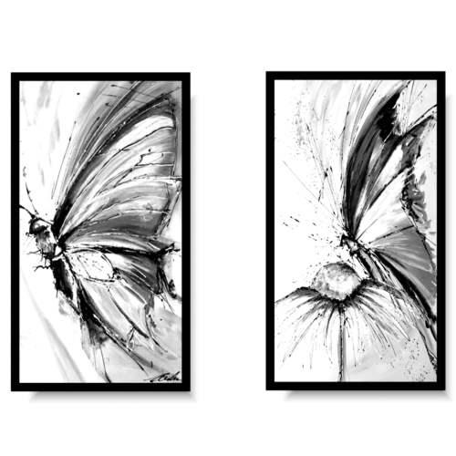 Komplet obrazów czarno białe motyle