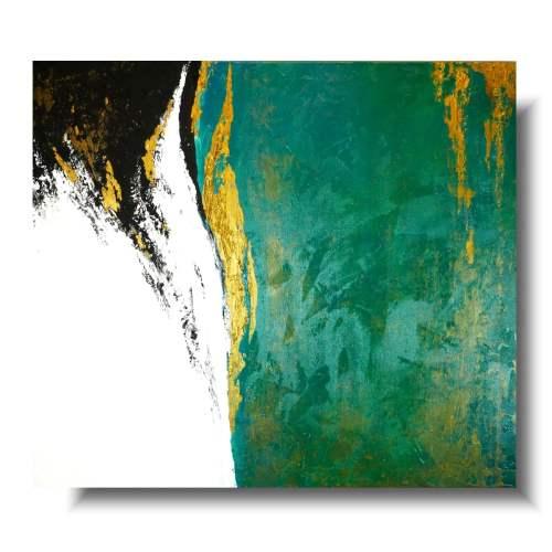 Modny obraz abstrakcja szmaragdowe bogactwo