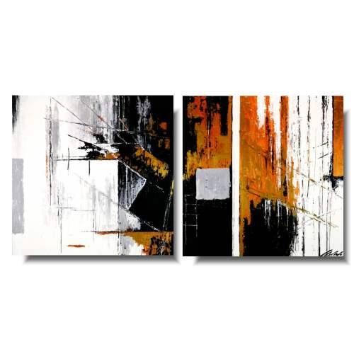 Obraz modna abstrakcja miedziany loft
