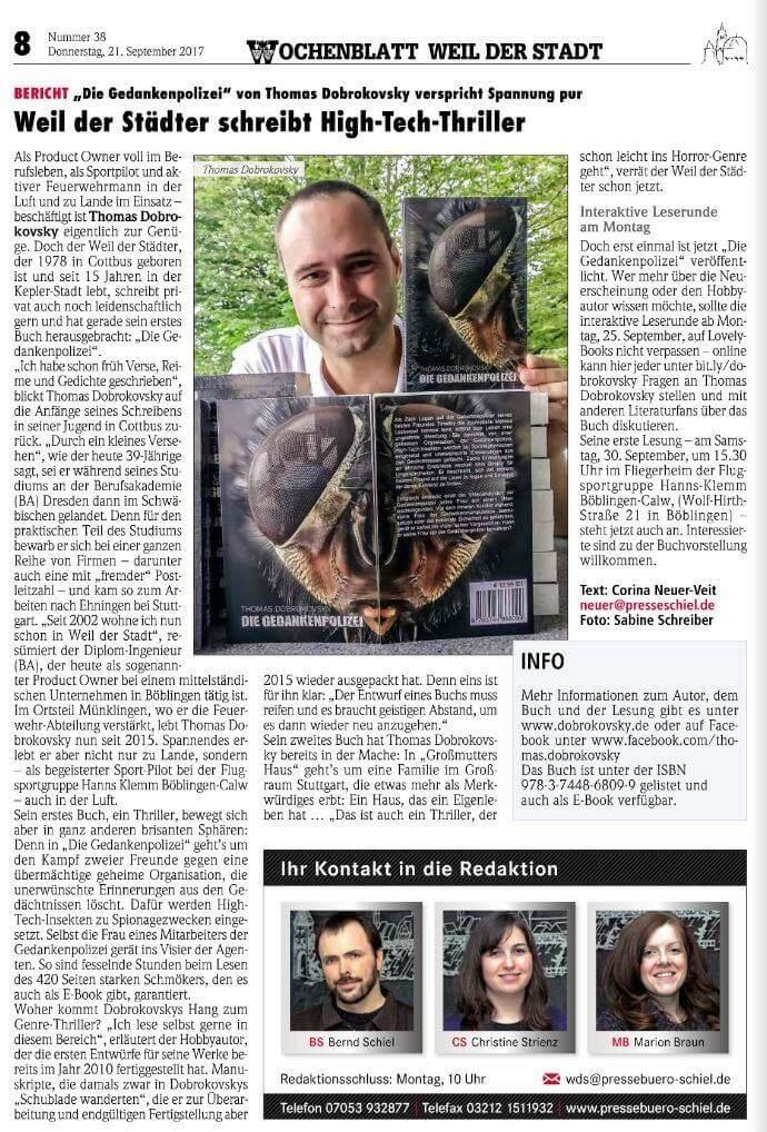 Artikel im Wochenblatt Weil der Stadt vom 21.09.2017