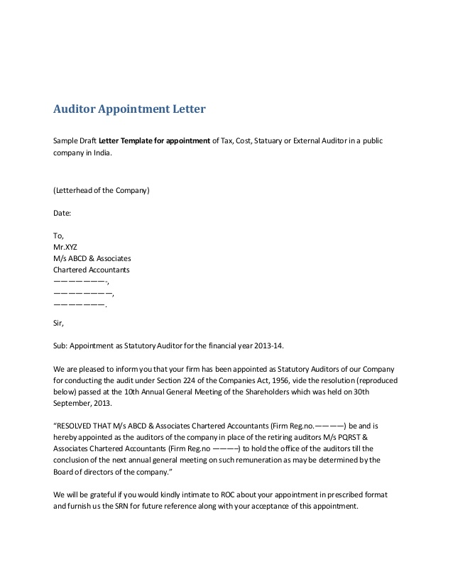 Appointment of Auditor  Legal Documents