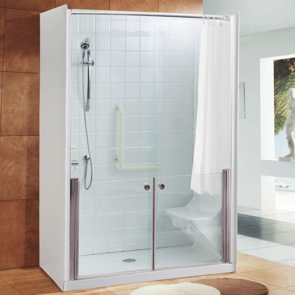 Cabina doccia cristallo 6 mm per anziani trasparente