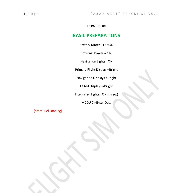 A320 Cold And Dark Checklist