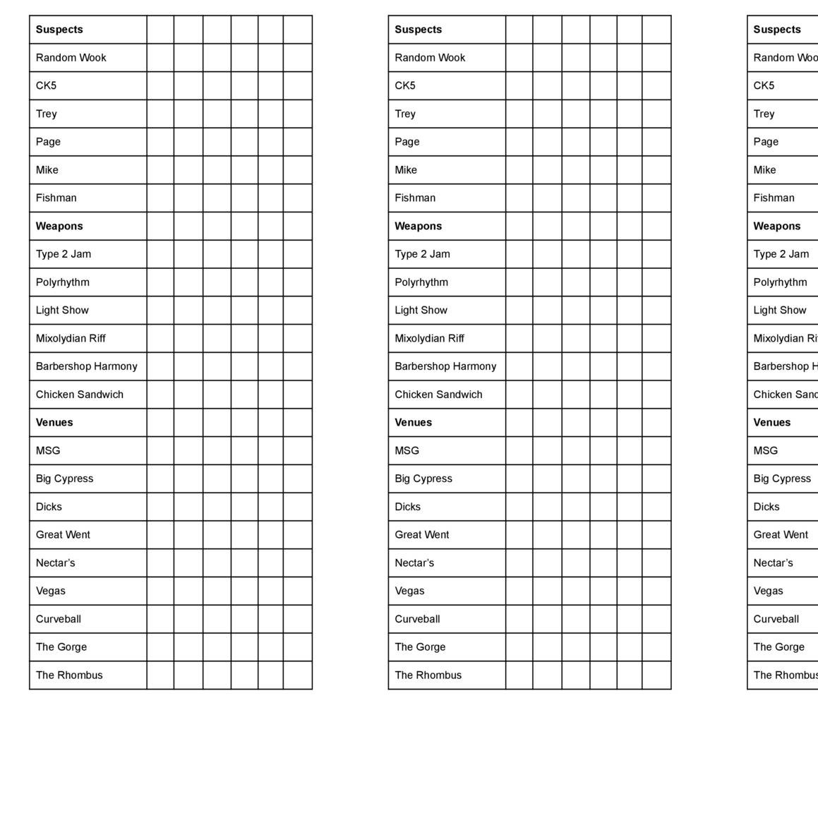 Clue Printable Sheets That Are Exhilarating