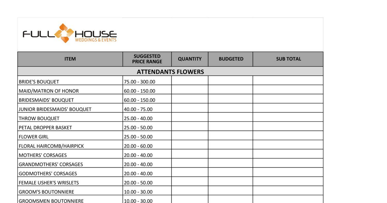 Full House Weddings Amp Events Checklist Worksheet