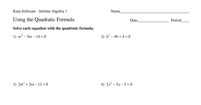 Week 13 Homework Adv Math Quadratic Formula