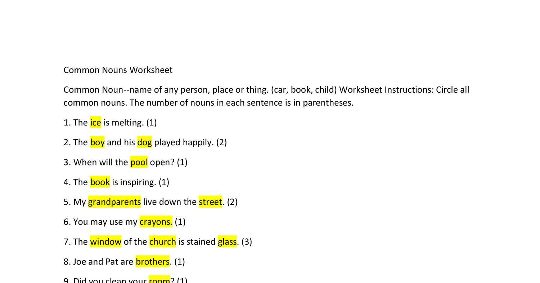 Common Nouns Worksheet Answers Cx
