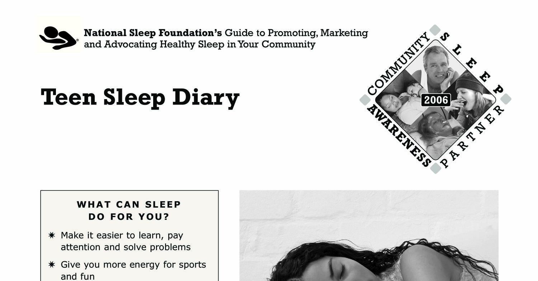 Teen Sleep Diarypdf  DocDroid