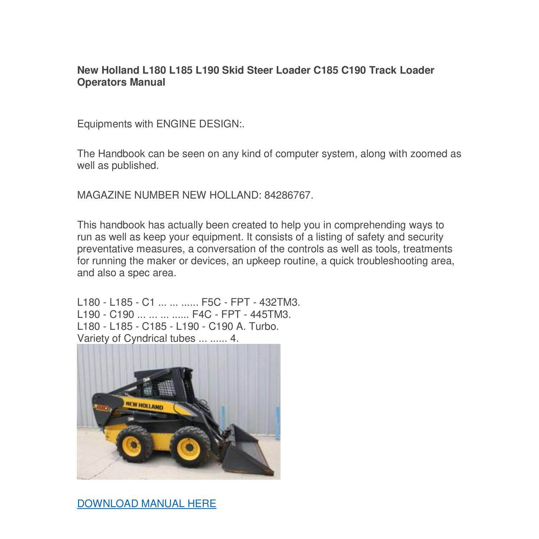 hight resolution of new holland l180 l185 l190 skid steer loader c185 c190 track loader operators manual pdf