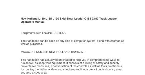 small resolution of new holland l180 l185 l190 skid steer loader c185 c190 track loader operators manual pdf