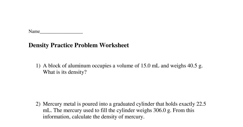 Density Practice Problem Worksheet