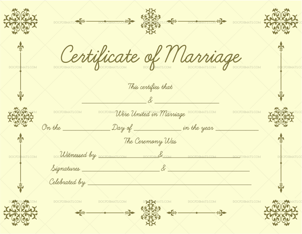 Printable Marriage Certificate (Light, Gold) – Doc Formats