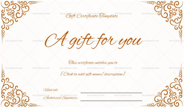 swirls corner gift certificate doc formats