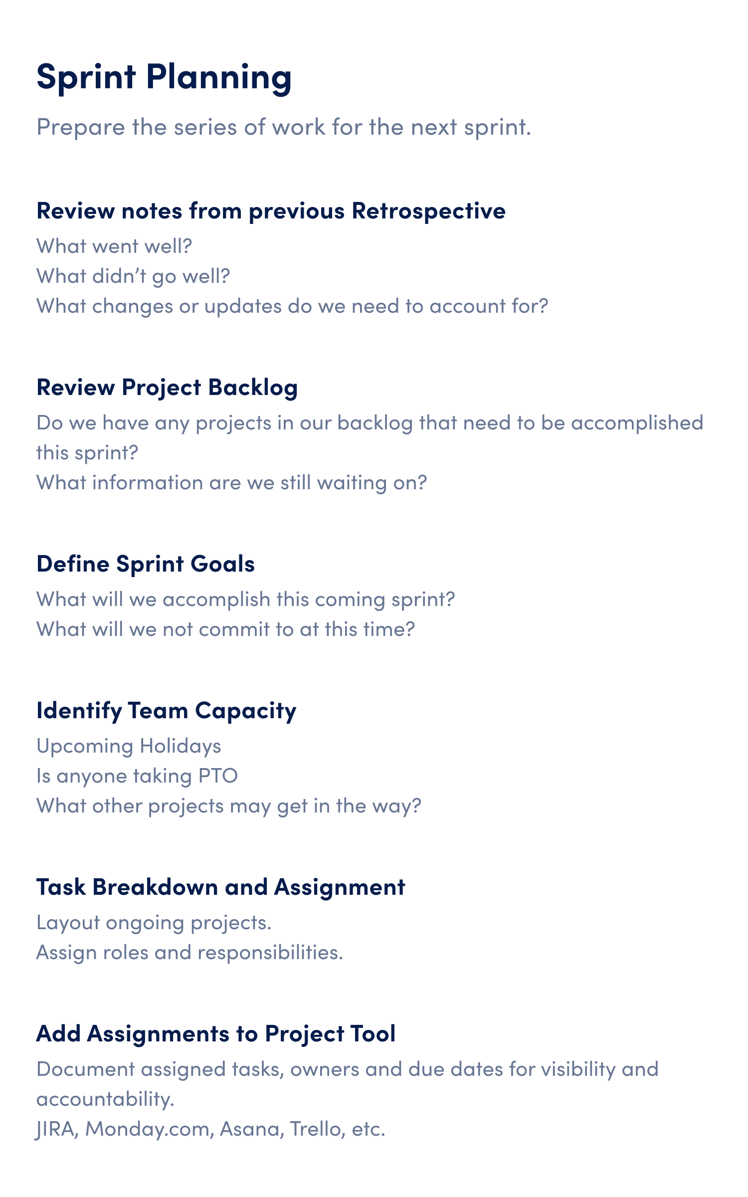 agile sprint planning meeting agenda template