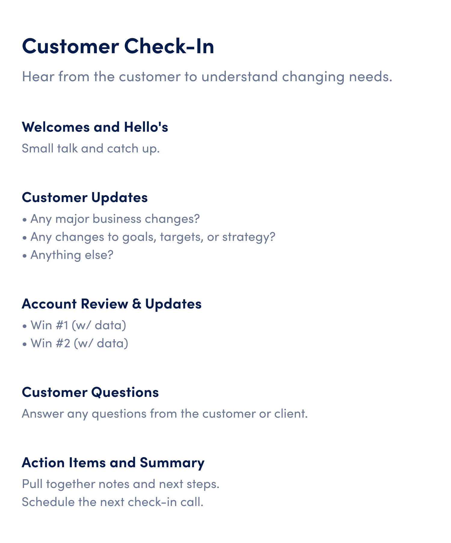customer check in meeting agenda template