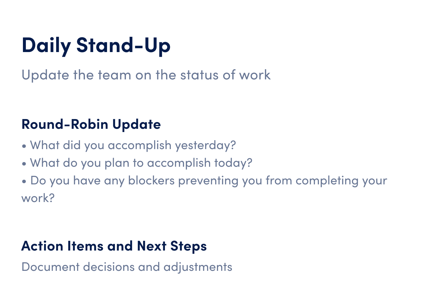 daily stand up meeting agenda template