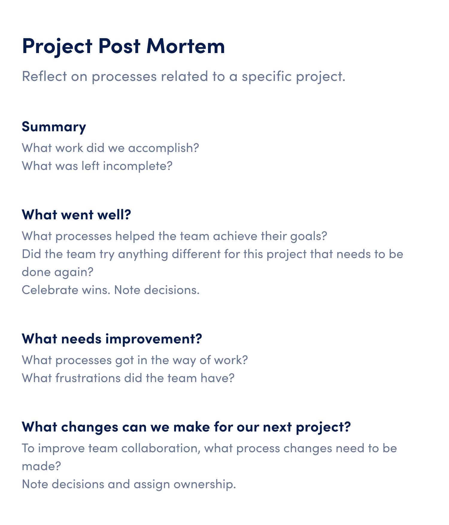 project post mortem meeting agenda template