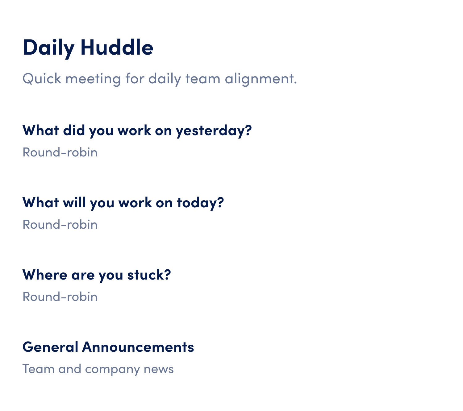 daily huddle meeting agenda template
