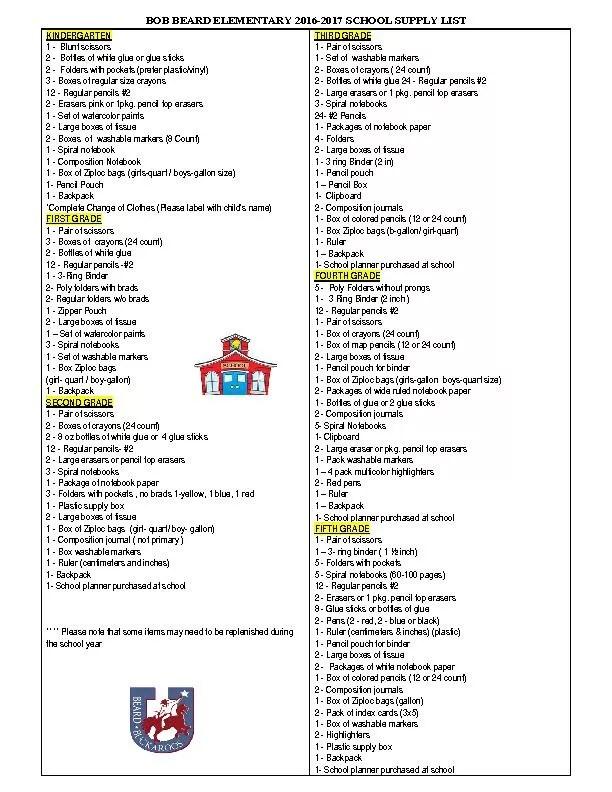 BOB BEARD ELEMENTARY 20162017 SCHOOL SUPPLY LIST PDF