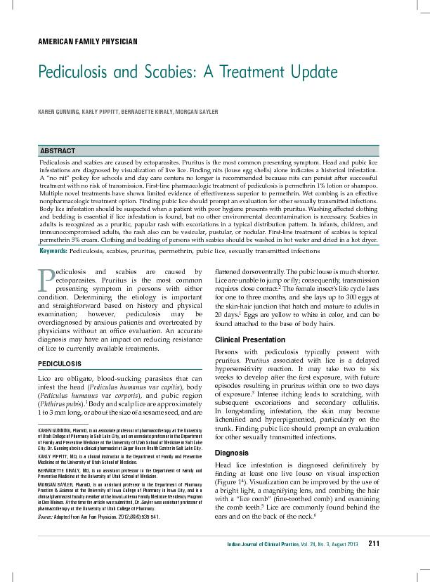 Pediculosis and Scabies: A Treatment Update PDF document