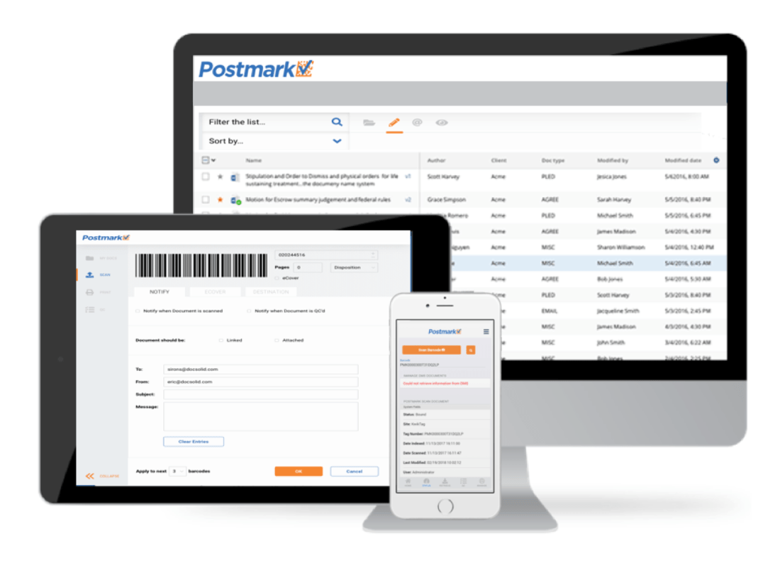 Postmark Mobile by DocSolid Responsive Interface