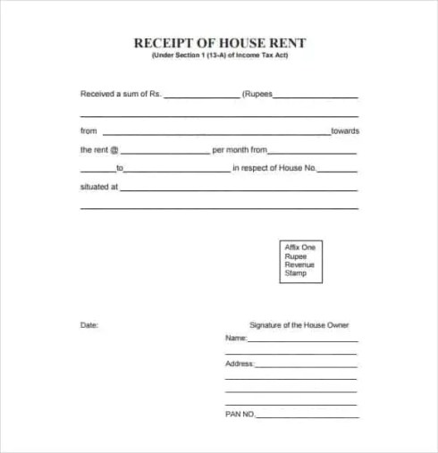Rent Receipt Templates 1974