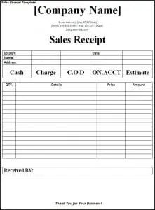 sales slip template