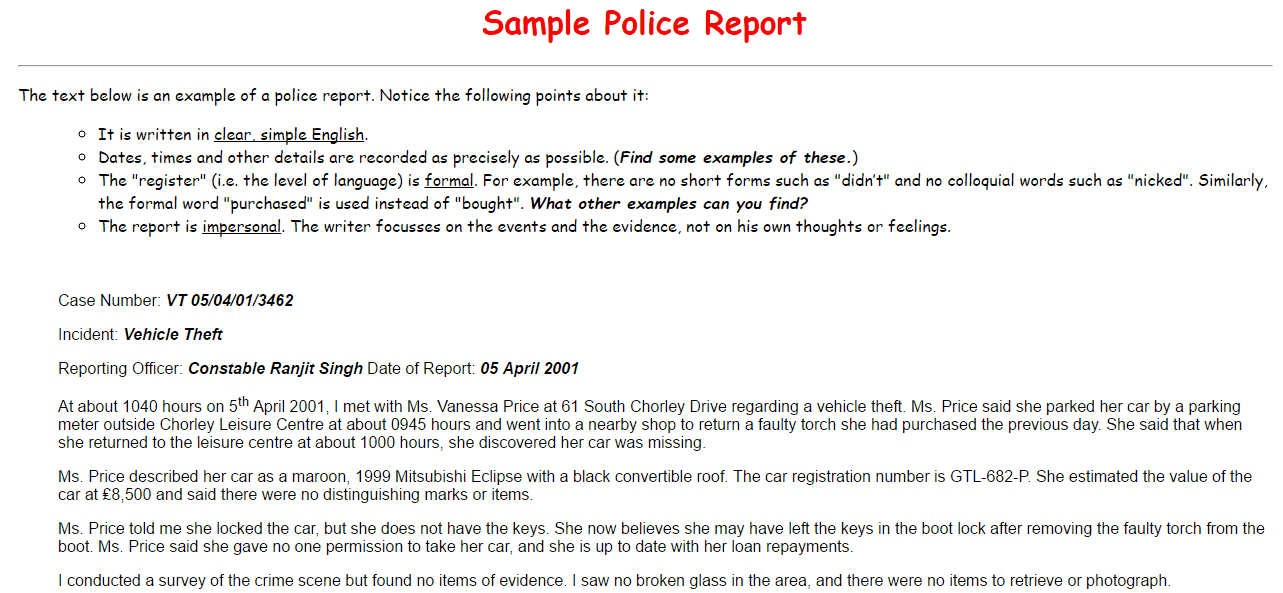 how to make a police report