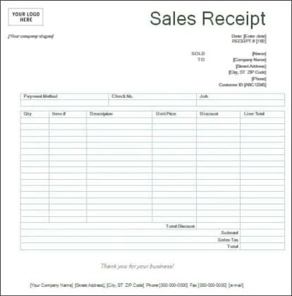 sales receipt template 3974