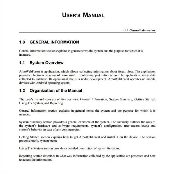 word user manual template