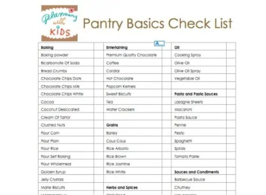 pantry list template 59741