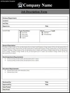 job duties template
