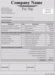 High Quality Payslip Template