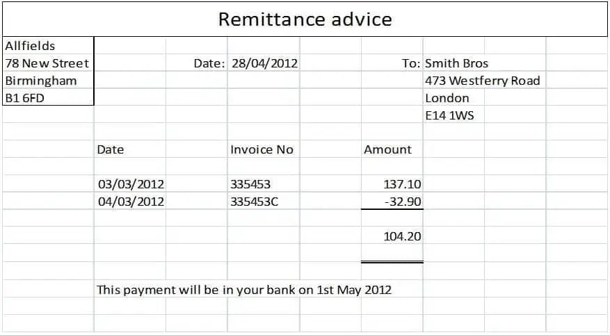 Remittance Templates 29641  Free Remittance Advice Template