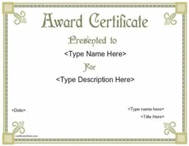 award certififate template 34851