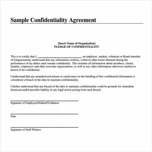 confdentiality agreement template 3941