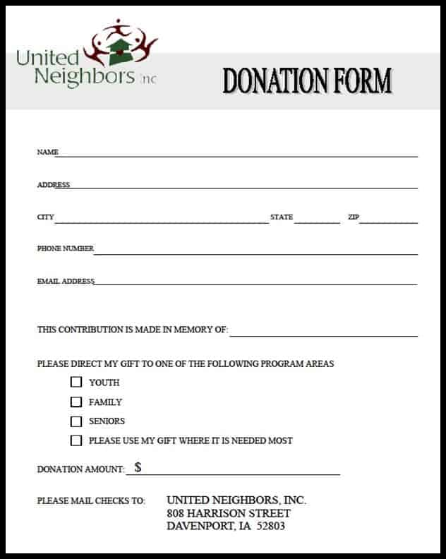 Top 5 Samples Of Donation Form Templates Word Templates Excel