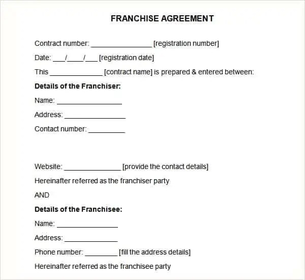 franchise agreement template 1641
