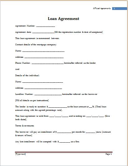 loan agreement template 59741