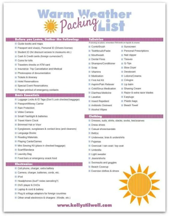 packing list template 59744