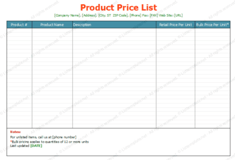 price list template 51241