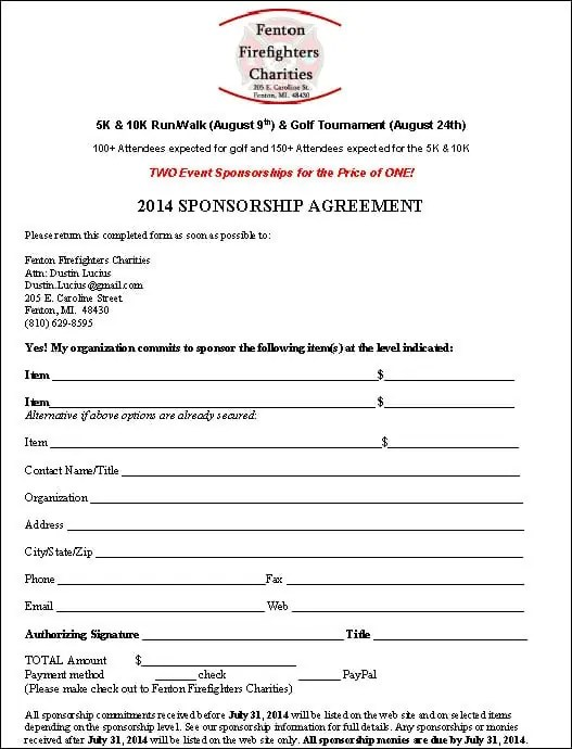 Sponsorship Agreement Proposal Business Plan Strategy And