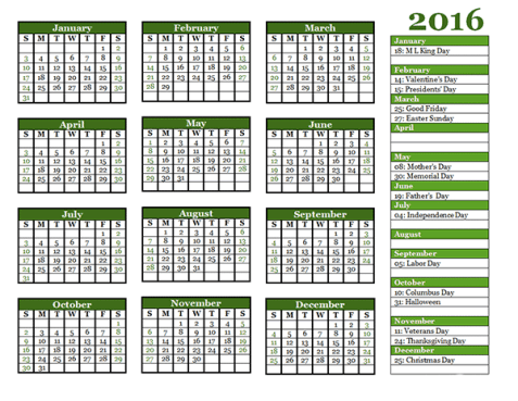 yearly calendar template 1542