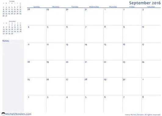 office calendar template
