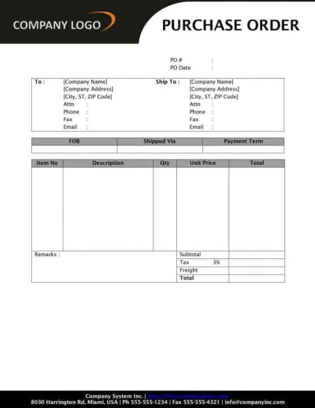 purchase order template 33254