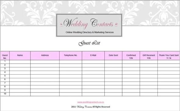wedding guest list template 2887
