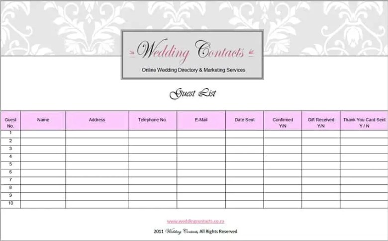 Top 5 Resources To Get Free Wedding Guest List Templates - Word